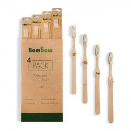 Lot de 4 Brosses à dents bambou - Bambaw