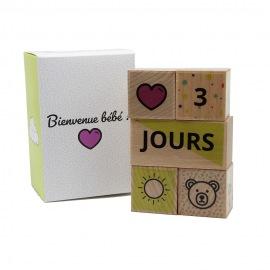 Cubes de naissance en bois - Fraise & Bois